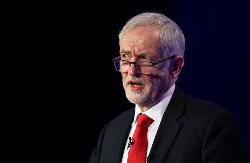 Jeremy Corbyn, leader of the Labour Party, gives a speech at the EEF National Manufacturing conference, in London, Britain, February 19, 2019 (photo credit: HANNAH MCKAY/ REUTERS)