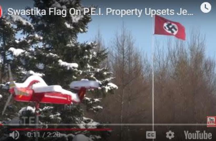 Nazi flag flown in Canada. (photo credit: screenshot)