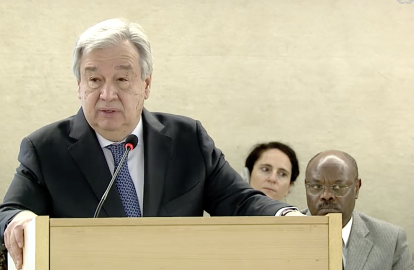 UN Secretary General Antonio Guterres at the opening of the UNHRC's 40th session (photo credit: screenshot)