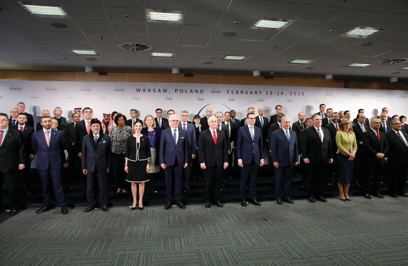 PARTICIPANTS POSE for a photo during the  Middle East summit in Warsaw earlier this month. (photo credit: REUTERS)