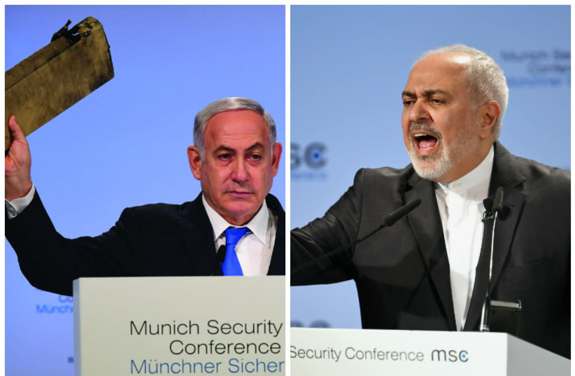 Prime Minister Benjamin Netanyahu (L) holds a piece of a downed Iranian drone at the 2018 Munich Security Conference; Mohammed Zarif (R) speaks at the 2019 conference (photo credit: AMOS BEN GERSHOM/GPO & REUTERS/ANDREAS GEBERT)