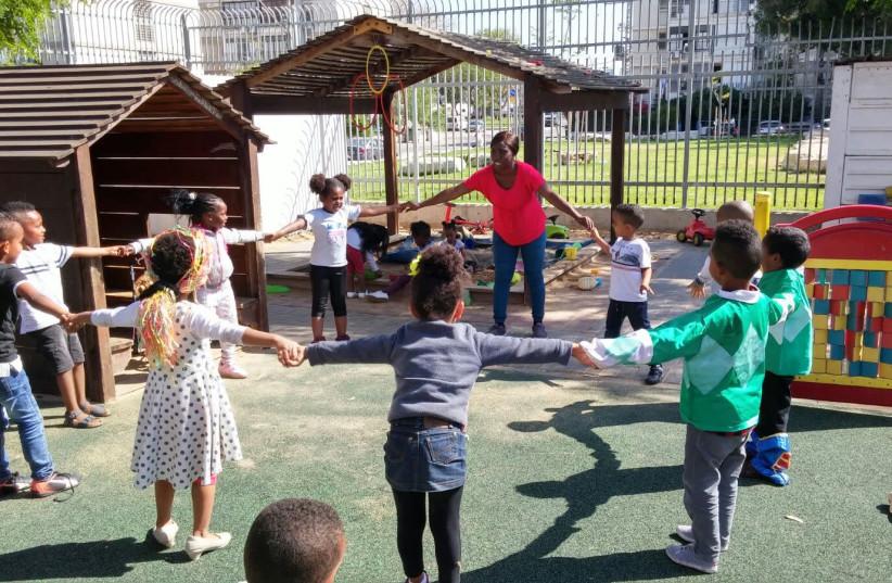 Children at a kindergarten for asylum seekers in south Tel Aviv. (photo credit: UNITAF)
