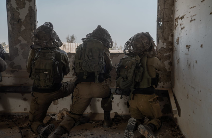 Soldiers taking part in an IDF drill simulating war with Hamas (photo credit: IDF SPOKESPERSON'S UNIT)
