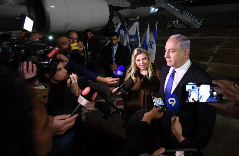 Prime Minister Benjamin Netanyahu en route to Moscow. (photo credit: GPO)