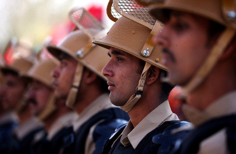 Indian police recruits take part in their passing out parade in Manigam (photo credit: REUTERS)