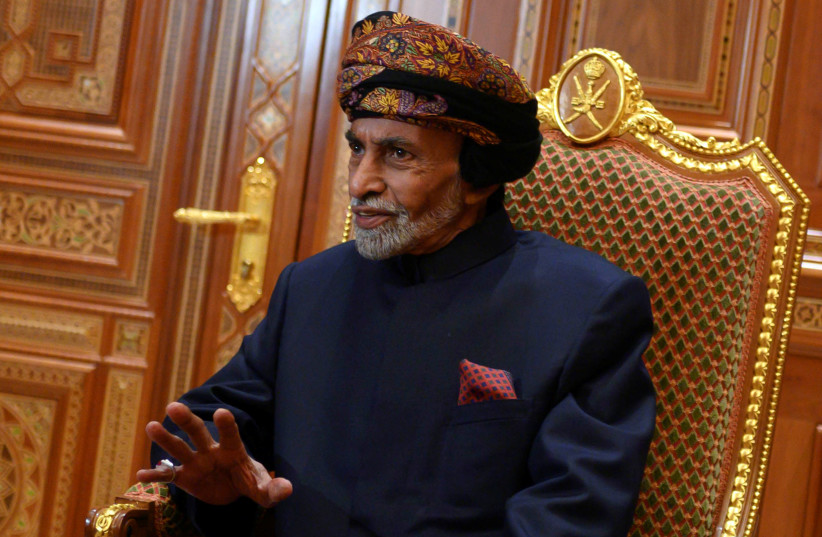 Sultan of Oman Qaboos bin Said al-Said sits during a meeting with U.S. Secretary of State Mike Pompeo (not pictured) at the Beit Al Baraka Royal Palace in Muscat, Oman January 14, 2019 (photo credit: REUTERS)