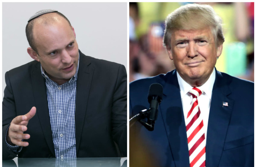 Naftali Bennett (L) and Donald Trump (R) (photo credit: MARC ISRAEL SELLEM/THE JERUSALEM POST & FLICKR)
