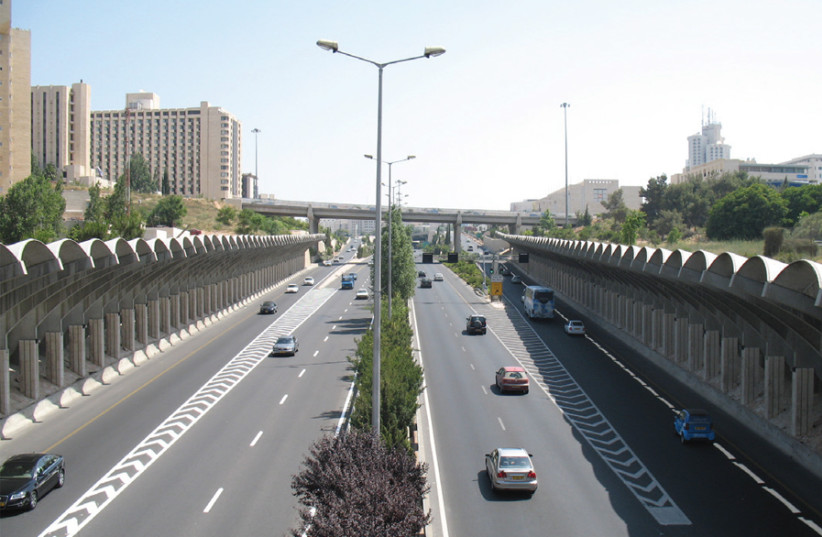 BEGIN HIGHWAY will finally be getting a separate public transportation lane. (photo credit: Wikimedia Commons)