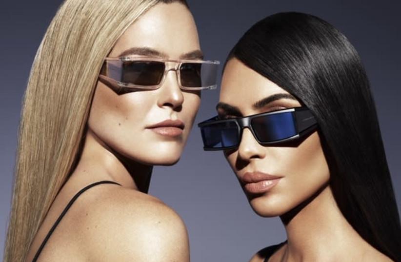 Kim Kardashian and Bar Refaeli in an ad for the new Carolina Lemke sunglasses line (photo credit: Courtesy)