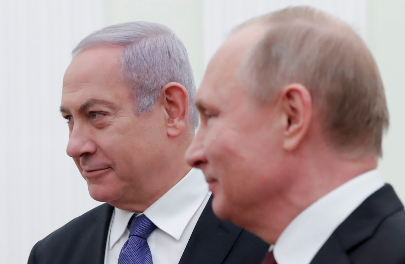 Prime Minister Benjamin Netanyahu (L) attends a meeting with Russian President Vladimir Putin at the Kremlin in Moscow, Russia February 27, 2019 (photo credit: MAXIM SHEMETOV/REUTERS)
