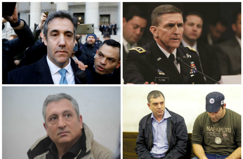Clockwise: Michael Cohen (top left), Michael Flynn, Nir Hefetz, Shlomo Filber (photo credit: ANDREW KELLY/REUTERS+REUTERS+AVSHALOM SASSONI/MAARIV+REUTERS)