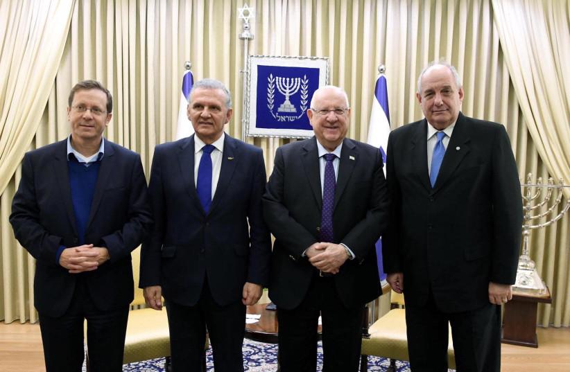 Jewish Agency Chairman Isaac Herzog , Photis Photiu of Cyprus, President Reuven Rivlin and Greek Deputy Foreign Minister Terens  Nicolaos Quick.  (photo credit: Mark Neiman/GPO)