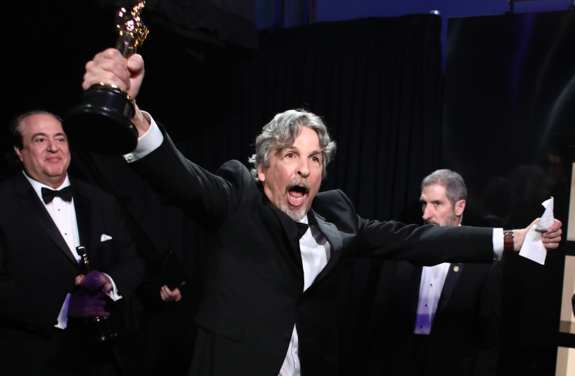 """Oscars Backstage - Hollywood, Los Angeles, California, U.S., February 24, 2019. """"Green Book"""" director Peter Farrelly reacts (photo credit: MATT SAYLES/A.M.P.A.S)"""
