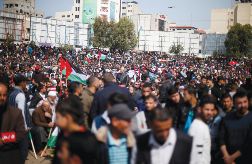 PALESTINIANS PROTEST in Gaza City.  (photo credit: REUTERS)