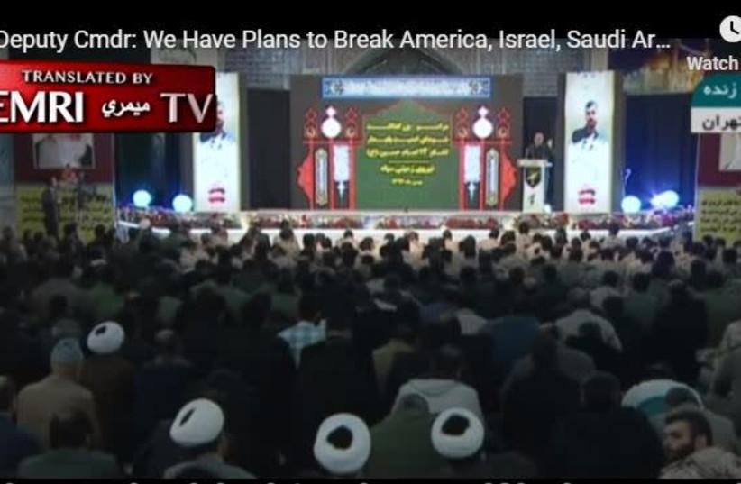 IRGC commander threatens to 'defeat the world powers' (photo credit: screenshot)