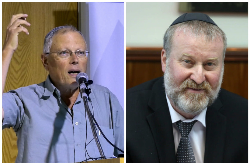 Dr. Hagai Ben-Artzi (left) and Attorney-General Avichai Mandelblit (right) (photo credit: MARC ISRAEL SELLEM/WIKIMEDIA COMMONS)