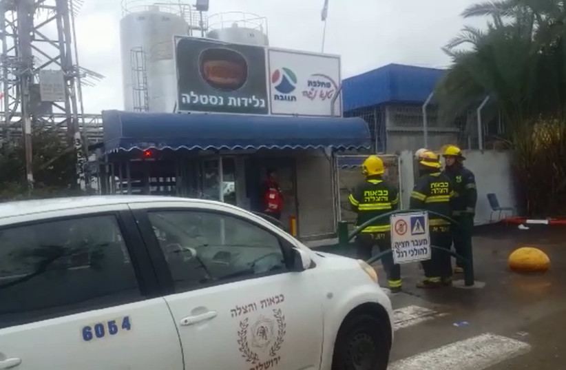 Firefighters outside the Nestle ice cream factory in the Beer Tuvia industrial zone near Kiryat Malachi, February 28, 2019 (photo credit: Courtesy)