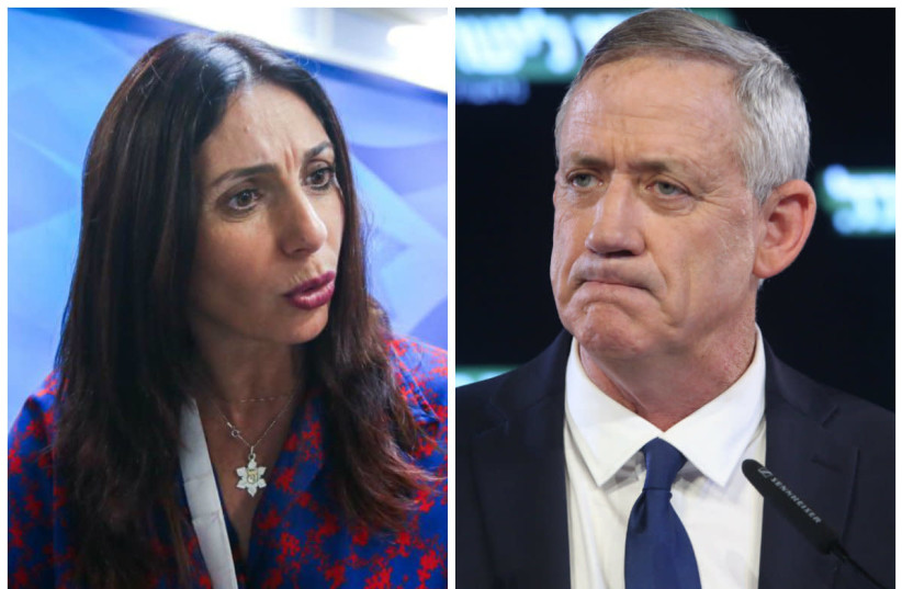 Minister of Culture and Sport Miri Regev (left) and Blue and White party chairman Benny Gantz (right) (photo credit: MARC ISRAEL SELLEM)
