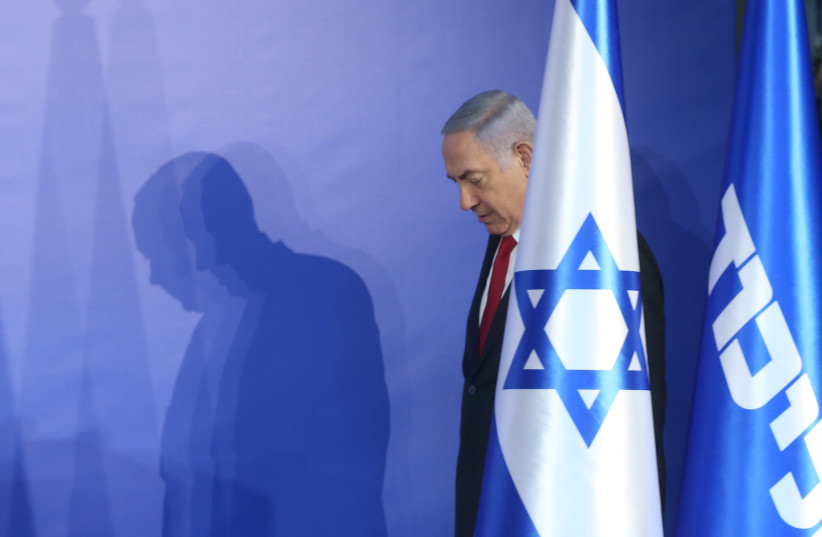 Prime Minister Benjamin Netanyahu enters a press conference, February 28th, 2019 (photo credit: MARC ISRAEL SELLEM/THE JERUSALEM POST)