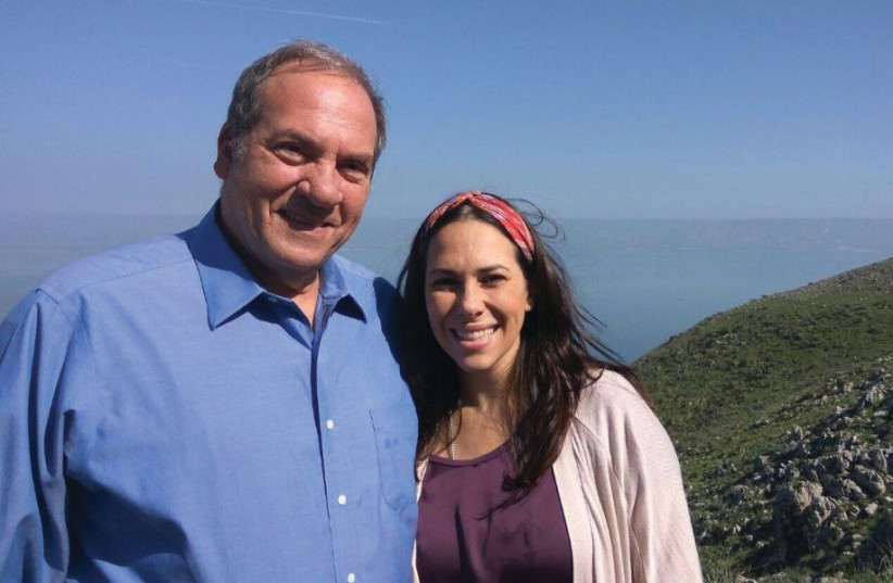 RABBI YECHIEL ECKSTEIN and his daughter Yael at Mount Arbel in the Galilee (photo credit: COURTESY IFCJ)