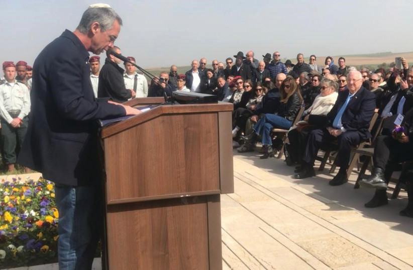 Gilad Sharon speaks at the memorial service for Ariel and Lily Sharon. (photo credit: LIOR GOLDSTEIN)