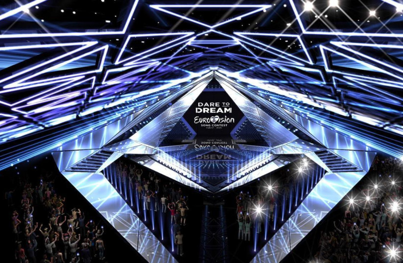An artistic projection of the 2019 Eurovision stage in Tel Aviv (photo credit: KAN)