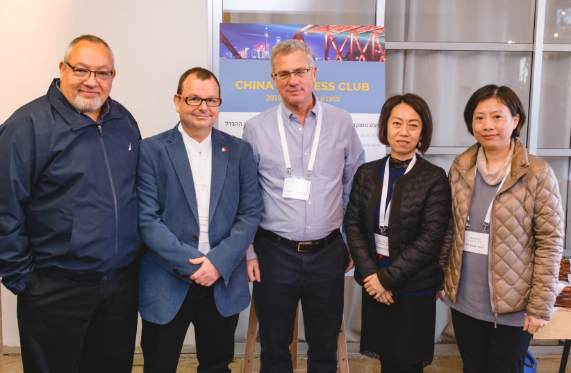 (From left) PTL Group Chairman Zvi Shalgo, General Manager Arie Schrier, Kramer COO Gil Feingold, PTL Group HR & Administration Manager Jasper Zhang and Financial Controller Wendy Wan (photo credit: YARIN TARANOS)