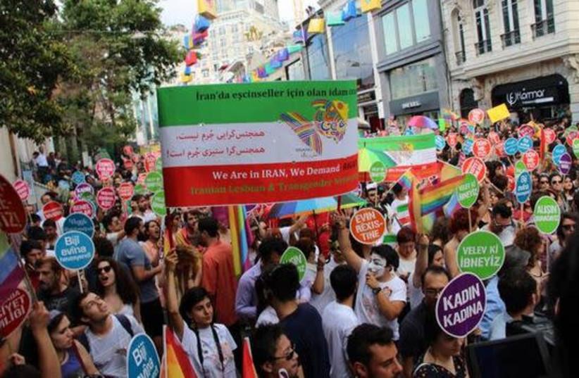 LGBT activists protesting in Istanbul   (photo credit: screenshot)