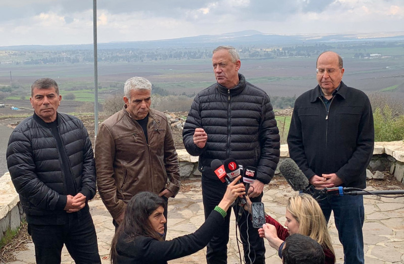 From Left to Right: Blue and White politicians Gabi Ashkenazi, Yair Lapid, Benny Gantz and Moshe Ya'alon in the Golan Heights.  (photo credit: TELEM PARTY PR)