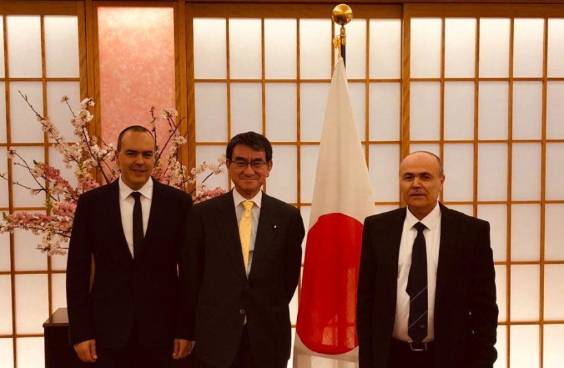 Head of COGAT's Civil Department, Colonel Sharon Biton, Japan's Minister of Foreign Affairs, Mr. Tarō Kōno, the Coordinator of Government Activities in the Territories, Major General Kamil Abu Rukun. (photo credit: COGAT SPOKESPERSON'S UNIT)