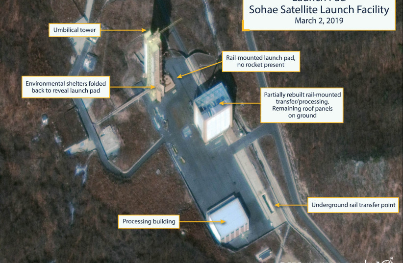The Sohae Satellite Launching Station launch pad features what researchers of Beyond Parallel, a CSIS project, describe as showing the partially rebuilt rail-mounted rocket transfer structure in a commercial satellite image taken over Tongchang-ri, North Korea on March 2, 2019 and released March 5,  (photo credit: CSIS/BEYOND PARALLEL/DIGITALGLOBE 2019 VIA REUTER)