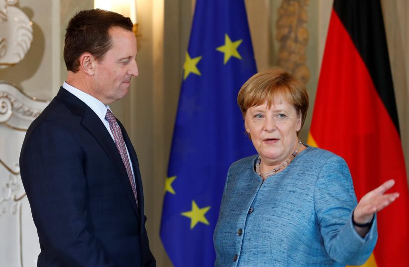 German Chancellor Angela Merkel receives the ambassador of U.S. to Germany, Richard Grenell, in Meseberg, Germany July 6, 2018 (photo credit: AXEL SCHMIDT/REUTERS)