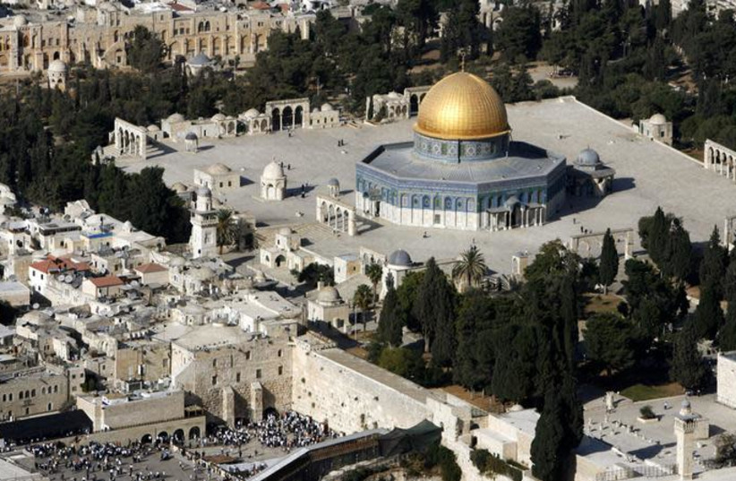 Will Jerusalem be divided? n aerial view shows the Dome of the Rock and the Western Wall (photo credit: REUTERS/ELIANA APONTE)