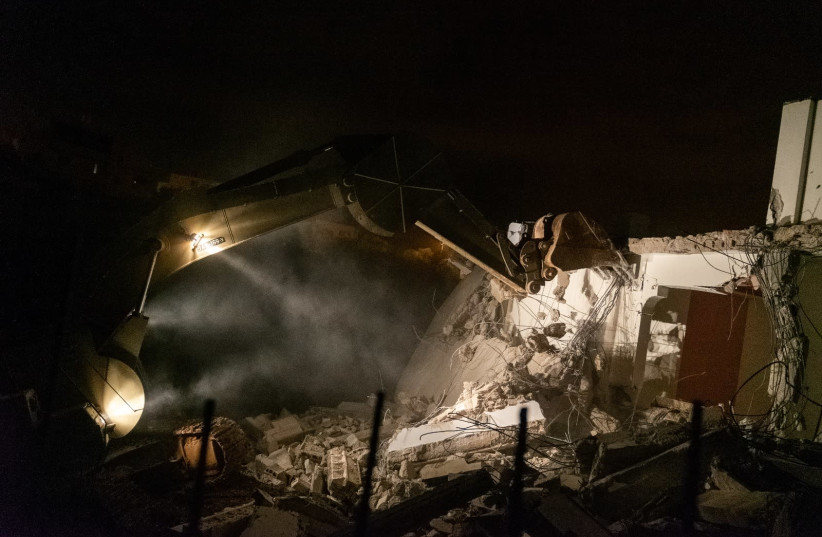 The home of terrorist Assem Barghouti was destroyed in the early hours of Thursday morning. (photo credit: IDF SPOKESMAN'S UNIT)