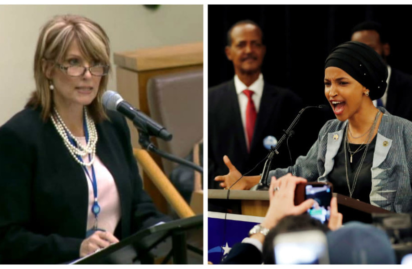 Laurie Cardoza-Moore (L) and Congresswoman Ilhan Omar (R) (photo credit: PJTN AND REUTERS)