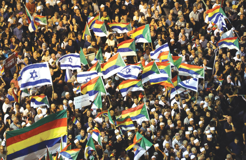 Druze-Israelis protest the Nation-State Law (photo credit: REUTERS)