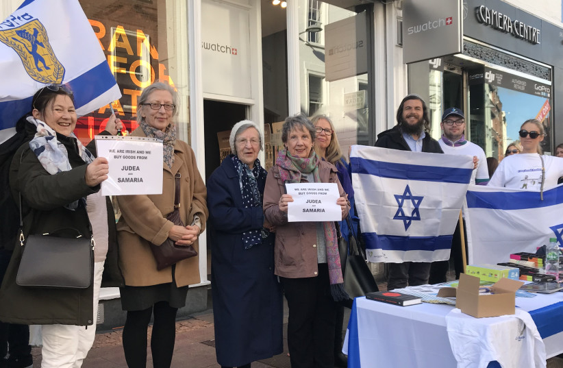 Israel Action Day in Ireland. Israeli lawyer Nati Rom, (holding flag) director of Lev Haolam joined the demonstration in Dublin, February 17, 2019 (photo credit: Courtesy)