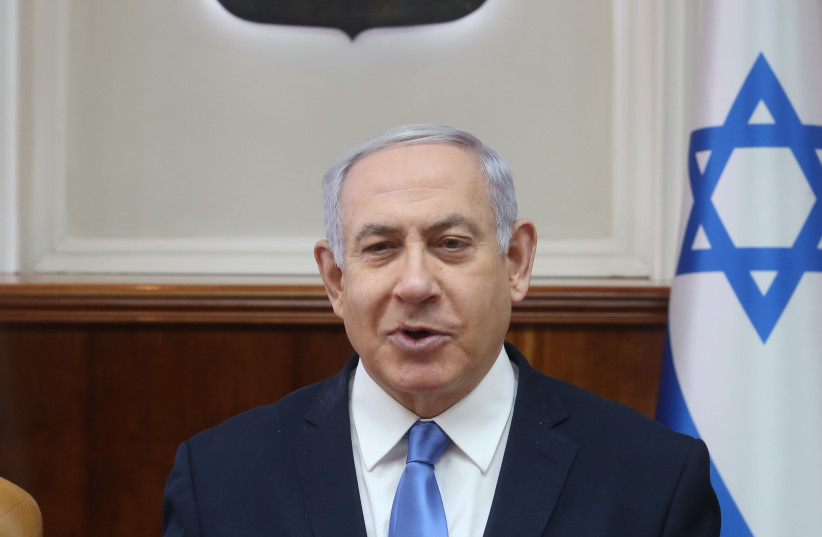 Prime Minister Benjamin Netanyahu at a weekly cabinet meeting, March 10th, 2019 (photo credit: MARC ISRAEL SELLEM/THE JERUSALEM POST)