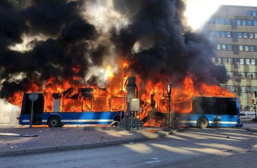 The bus that exploded in Stockholm (photo credit: screenshot)