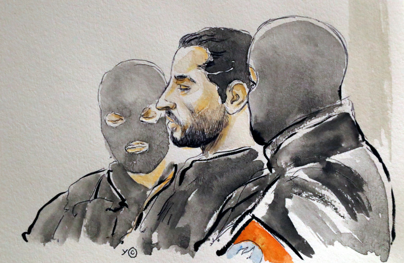 A court artist drawing shows Mehdi Nemmouche during the trial of Nemmouche and Nacer Bendrer, who are suspected of killing four people in a shooting at Brussels' Jewish Museum in 2014, at Brussels' Palace of Justice, Belgium March 7, 2019 (photo credit: REUTERS)