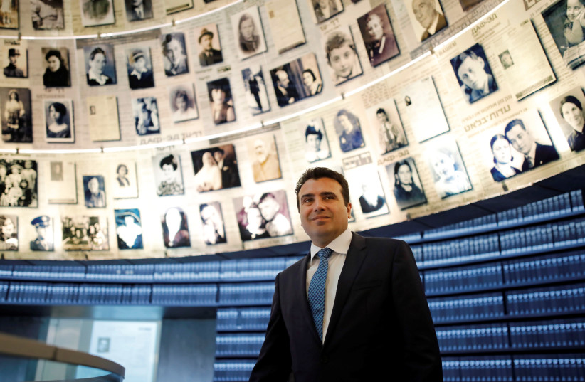 Prime Minister of Macedonia Zoran Zaev visits Yad Vashem in Jerusalem (photo credit: AMIR COHEN/REUTERS)