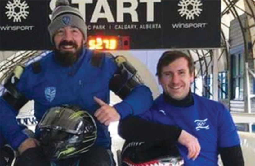 DAVE NICHOLLS (left) and Ilya Malikin (right) represented Israel together in the two-man bobsledding event at the World Championships this month in British Columbia (photo credit: Courtesy)