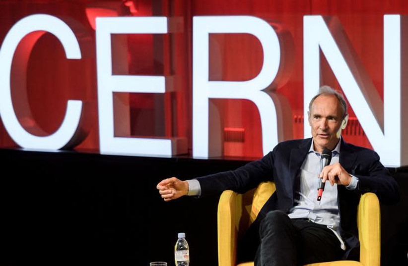 World Wide Web inventor Tim Berners-Lee delivers a speech during an event marking 30 years of World Wide Web, on March 12, 2019 at the CERN in Meyrin near Geneva, Switzerland (photo credit: REUTERS/POOL)