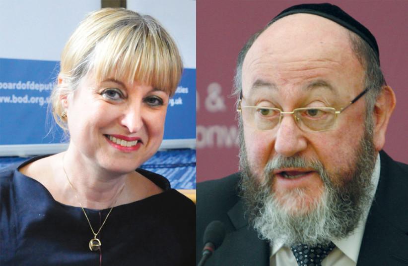 Marie van der Zyl/British Chief Rabbi Ephraim Mirvis (photo credit: Courtesy)