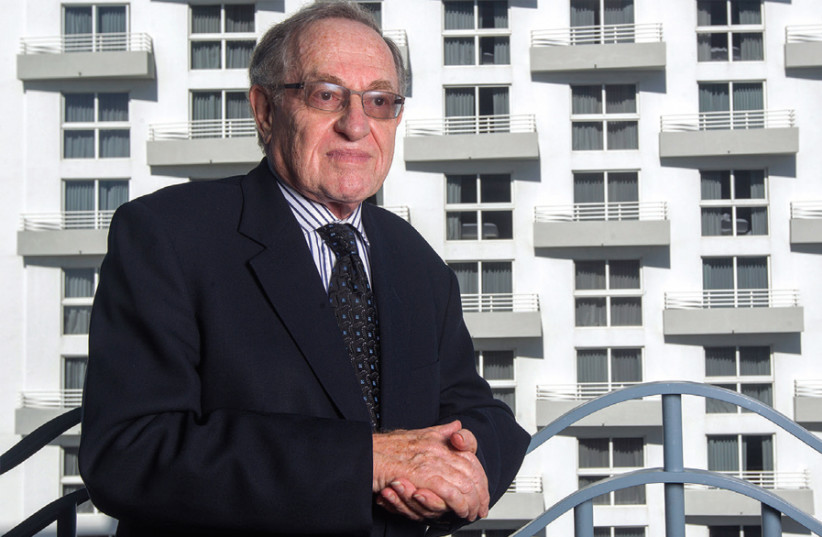 Alan Dershowitz outside his home in Miami Beach, Florida (photo credit: ANDREW INNERARITY / REUTERS)