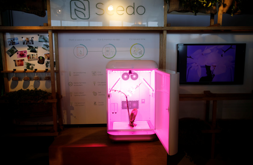 An autonomous cannabis-growing device by Israeli company, Seedo, is displayed with an orchid inside it, at an exhibition stand during Cannatech 2017, an annual global cannabis industry event, in Tel Aviv, Israel March 20, 2017. Picture taken March 20, 2017 (photo credit: AMIR COHEN/REUTERS)