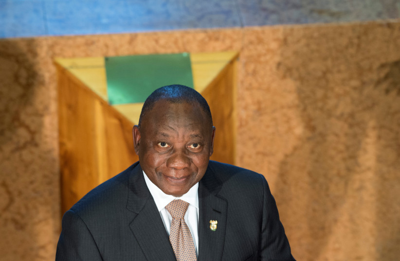 South African President Cyril Ramaphosa at the State of the Nation address in January. (photo credit: RODGER BOSCH/REUTERS)