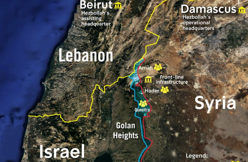 Map of Hezbollah infrastructure in the region, 2019 (photo credit: IDF SPOKESPERSON'S OFFICE)