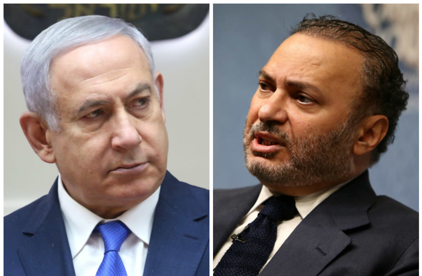 Minister of State for Foreign Affairs for the United Arab Emirates, Anwar Gargash (R) and Prime Minister Benjamin Netanyahu (R) (photo credit: REUTERS & MARC ISRAEL SELLEM/THE JERUSALEM POST)