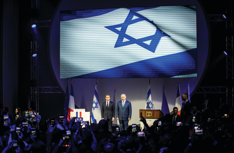 ARE FRANCE and Israel similar? French President Emmanuel Macron and Prime Minister Benjamin Netanyahu attend the opening ceremony of the France-Israel season event in Paris last June (photo credit: REUTERS)